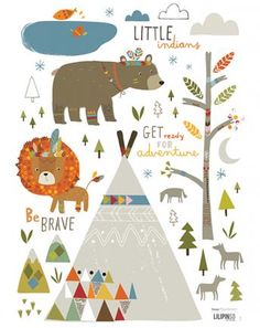 Wandsticker LITTLE INDIANS ARROWS in bunt