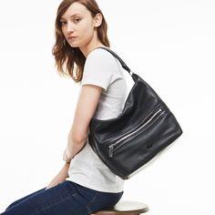 Damen-Hobo-Tasche aus monochromem Leder RENÉE | LACOSTE