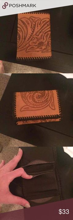 Handmade Leather Men's Wallet Tri-Fold hand made/ hand tooled leather wallet. Accessories Money Clips