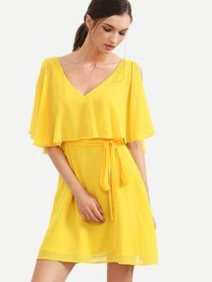 Robe col V manche fendue - jaune