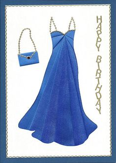 iris folding gown card - includes template - bjl