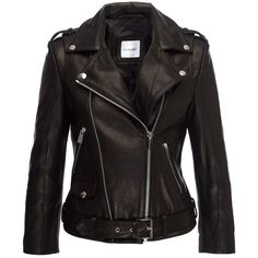 Cropped Moto Jacket (17 765 ZAR) ❤ liked on Polyvore featuring outerwear, jackets, coats, tops, biker jacket, moto jacket, cropped biker jacket, black biker jacket and cropped jacket