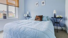 Biru dan Kamar Minimalis Blue Bedroom, Comforters, Room Decor, Blanket, Places, House, Color, Furniture, Bed Room