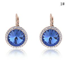 Gold Plated Alloy Zircon Round Pattern Earrings(Assorted Colors) – AUD $ 7.64
