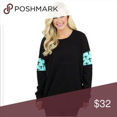 New Black Long Sleeves with Turquoise Crosses New Oversized Jersey Long Sleeves with turquoise with crosses. Oversized and very soft. 100% cotton. Tops Tees - Long Sleeve