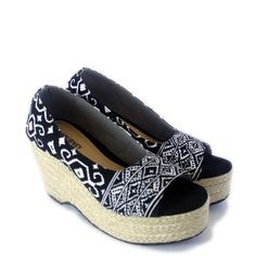 Pretty shoes with authentic Indonesia (Bentenan) fabric and Espadrille Wedges by IAMSIGOURNEY