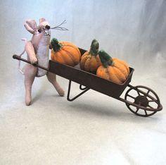 Mouse Pumpkin Wheelbarrow Fall Mice by MotherlodeToad on Etsy