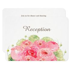 Romantic Pink Rose Watercolor Painting Design Personalized Wedding Reception Cards. Matching Wedding Invitations, Bridal Shower Invitations, Save the Date Cards, Wedding Postage Stamps, Bridesmaid To Be Request Cards, Thank You Cards and other Wedding Stationery and Wedding Gift Products available in the Floral Design Category of the Best Day Ever store at zazzle.com