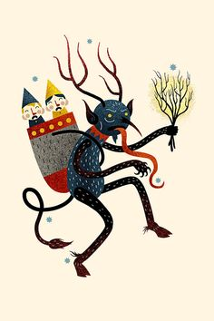 "Awesome alternative ""holiday"" cards: The Krampus, Gryla, The Tio De Nadal, and The Yule Goat."