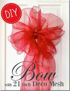 Large Bow with Deco Mesh by Mardi Gras Outlet - Fabric Bows and More