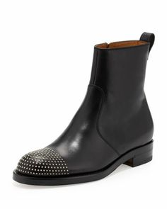 Flat Stud-Toe Bootie, Black by Gucci at Neiman Marcus. Gucci Flats, Chelsea Boots, Neiman Marcus, Booty, Brogue Chelsea Boots, Swag