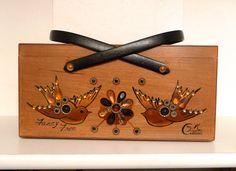 Enid Collins Fancy Free Wooden Box Bag