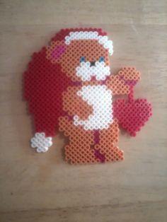 Christmas teddy perler beads by Sara Swope