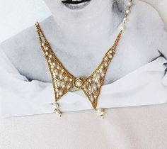 Gold Collar Jewelry Bip  Statement Necklace  by aynurdereli, $78.00  Pearl, Bip Statement Necklace, Pearl Wedding Jewelry, Bridal Jewelry, Bib Pearl Necklace