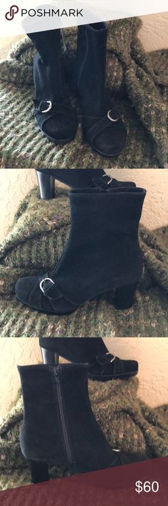 """⬇️ONE DAY SALE🎉🎉Suede Booties 8 New with tag, black suede waterproof. 3"""" heel, there are a few marks on the right boot that I've captured in my photos but they're very minor. If you're unfamiliar with this brand, please Google, as it's high end! La Canadienne Shoes Ankle Boots & Booties"""
