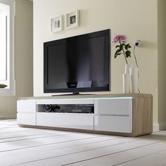 Frame Plasma TV Stand In Oak And White High Gloss With 5 Drawers Finish: Oak…