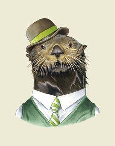 Sea Otter print 11x14 by berkleyillustration on Etsy- this guy is so handsome... haha