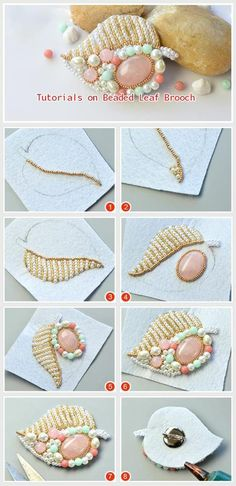 DIY Beaded Leaf Brooch