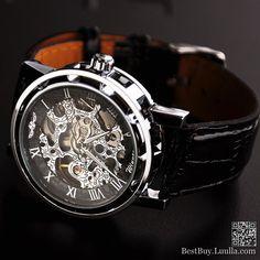 Men wristwatch Mechanical watch Steampunk gear watch, Silver
