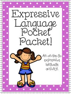 """The Expressive Language Pocket Packet is the perfect resource for the busy SLP!It's convenient, fun for students, and targets expressive language skills in a variety of ways.This download includes:-Directions page- 72 cards divided into 5 categories (food, body parts, occupations, animals, and common objects) with 3 questions about each picture.For instance: A picture of a hamburger with the following questions:""""What is this?""""""""What do you do with it?""""""""What can we put on it?"""""""