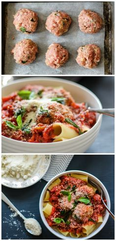Lean Baked Parmesan Turkey Meatballs served over rigatoni and topped with a jazzed up chunky tomato basil sauce. If you are gluten free, serve it over quinoa or a brown rice pasta! YUM.