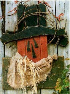 Primitive wood pattern scarecrow fall pumpkin head rustic decor is part of Primitive Autumn crafts - Primitive Wood Crafts, Fall Wood Crafts, Primitive Autumn, Halloween Wood Crafts, Autumn Crafts, Fall Halloween, Country Primitive, Primitive Pumpkin, 2x4 Crafts