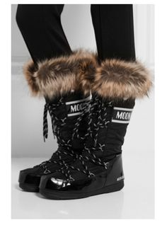 Moon Boots  Cold weather means hot style! Faux fur-trimmed piqué-shell and faux patent leather snow boots. Moon Boots were originally created in the 1970's and became a notable fashion trend in the 80's. These winter boots are anything but subtle. If you're preparing for space travel, or you want something to slip on after a long day of skiing, Moon Boots might be right up your fashion alley.