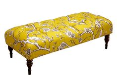 Chinoiserie examples: My bedroom look here and other rooms, too. (I have lots of Asian-inspried  pieces, very old furniture from China w/ other antiques and I love adding in toile textiles.) Gathering ideas for updating and blending further this Spring -  Collette Tufted Bench, Yellow Blossom on OneKingsLane.com