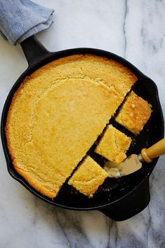 Skillet Corn Bread - the easiest and most delicious corn bread recipe ever. Made in a skillet and bake in oven and served with whipped honey butter | rasamalaysia.com