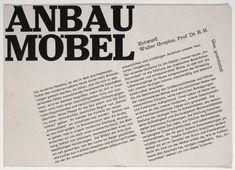 Herbert Bayer. Anbau Möbel, Entwurf: Walter Gropius, Prof. Dr. e.H. Unknown