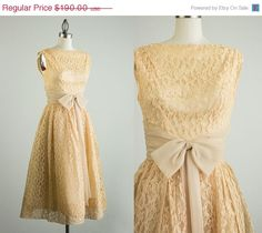 20% OFF SALE 50s Vintage Peach Lace Tea Length Party Dress / Small by decades on Etsy