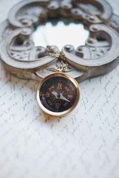 Gold compass necklace brass compass long chain