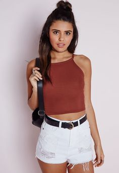 Missguided - Ribbed High Neck Crop Top Terracotta