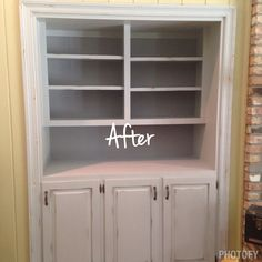 Chalk painted built in bookcase with clear wax and light distressing @rusticredo