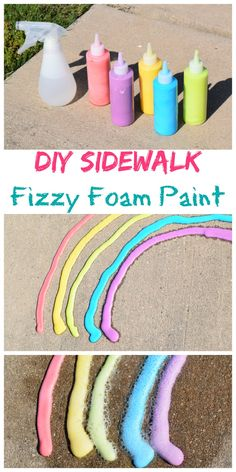 Science & Fun Outdoor Play - DIY Sidewalk Fizzy Foam Paint with easy clean up! Such a fun summer craft!