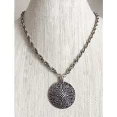 Morgana Pendragon Silver Tribal Floral Disc Circle Pendant Necklace ❤ liked on Polyvore featuring jewelry, necklaces, tribal necklaces, thick rope chain necklace, silver jewelry, circle necklace and silver disc necklace