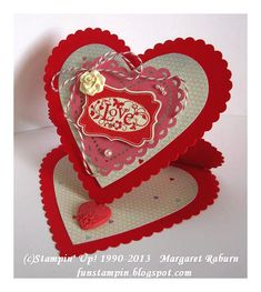 Valentine easel card made with Heart Framelits and the You Are Loved set.  by Margaret Raburn