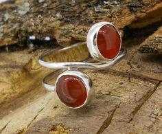 anillo de plata doble piedra en cabujón (cornalina)