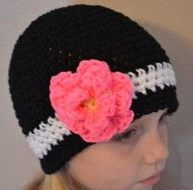 Black Beanie with Hot Pink Flower  FREE SHIPPING. $24.00, via Etsy.