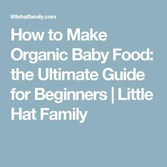 How to Make Organic Baby Food: the Ultimate Guide for Beginners | Little Hat Family