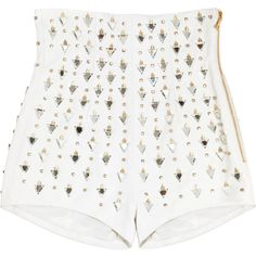 Balmain Embellished high-rise leather shorts ($1,965) ❤ liked on Polyvore featuring shorts, bottoms, pants, short, fitted shorts, high rise shorts, white shorts, leather shorts and short shorts