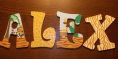 Custom Made Wooden Nursery Letters, Lambs and Ivy Safari Express...ooo I can totally do this!