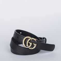 8616f825579 GUCCI Double GG Belt Black Leather 80