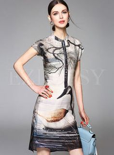 Shop for high quality Landscape Print Patch Silk Dress online at cheap prices and discover fashion at Ezpopsy.com
