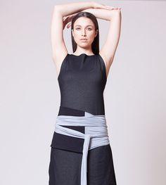 Obi Belt, Wrap Belt, Cloth Belt, Black & Gray MB901
