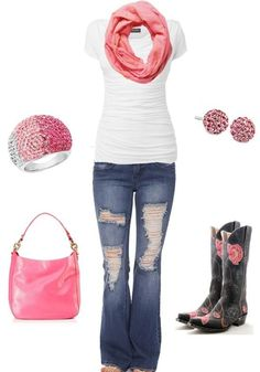 Jeans white top pink cows neck scarf