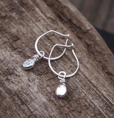 Simple Handmade Sterling Silver Everyday Earrings Pebbles Of Recycled Hang By A