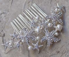 Rhinestone Starfish Bridal Hair Comb ~ Sandy