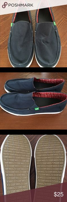 d7fc299eb660 Shop Men s Sanuk Blue size 14 Loafers   Slip-Ons at a discounted price at  Poshmark. Description  Navy blue canvas slip-on
