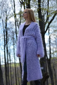 Hand knitted mohair sweater COAT shrug in Lilac  by by Dukyana